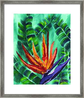 Bird Of Paradise Crane Flower Acrylic Painting Framed Print by Beverly Claire Kaiya