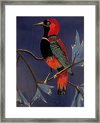 Framed Print featuring the painting Bird On A Branch by Kathleen Sartoris