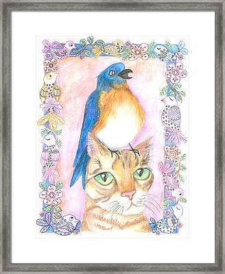 Bird On A Cat's Head Framed Print