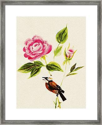 Bird On A Flower Framed Print by Anastasiya Malakhova
