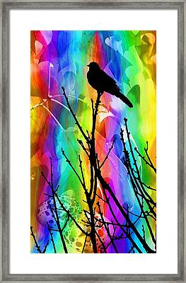 Framed Print featuring the photograph Bird On A Stick by Elizabeth Budd
