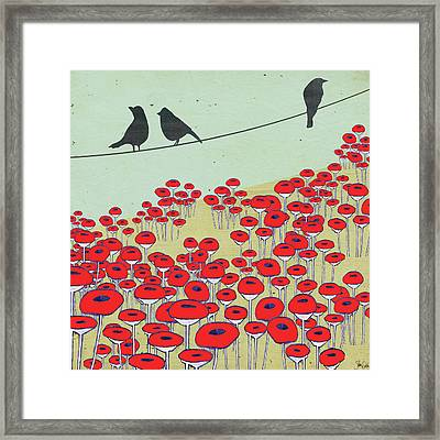 Bird On A Wire I Framed Print by Shanni Welsh