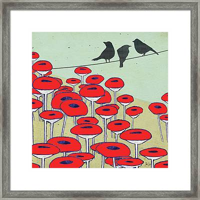 Bird On A Wire II Framed Print by Shanni Welsh
