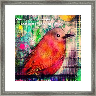 Bird On A Wire Framed Print by Robin Mead
