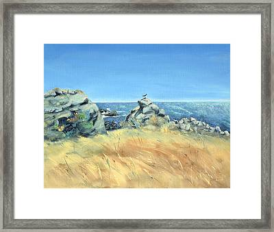 Framed Print featuring the painting Bird On Rock And Silvery Blue Sea by Asha Carolyn Young