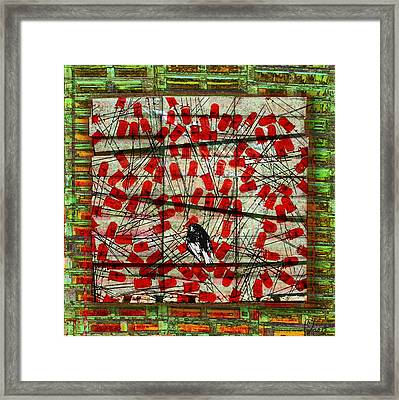 Bird On Wire Framed Print by Maria Jesus Hernandez