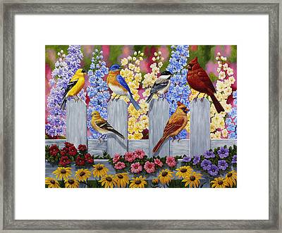 Bird Painting - Spring Garden Party Framed Print