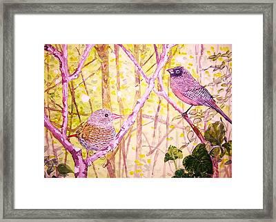 Bird Pair Framed Print by Linda Vaughon