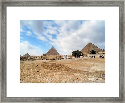 Bird Sphinx And Pyramids Framed Print by Karam Halim