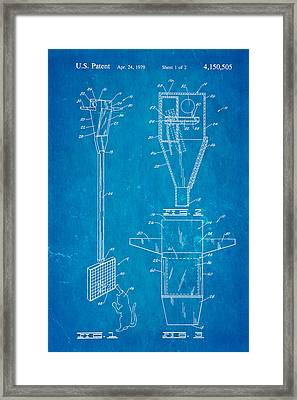 Bird Trap Cat Feeder Patent Art 1979 Blueprint Framed Print by Ian Monk
