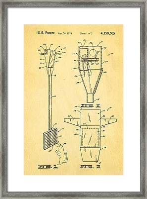 Bird Trap Cat Feeder Patent Art 1979 Framed Print by Ian Monk