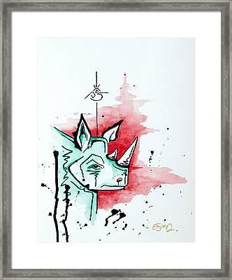 Bird Vs. Rhino  Framed Print by Emily Pinnell