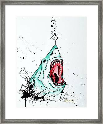 Bird Vs. Shark Framed Print by Emily Pinnell