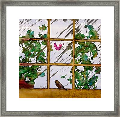 Bird With A View Framed Print by Carolyn Doe