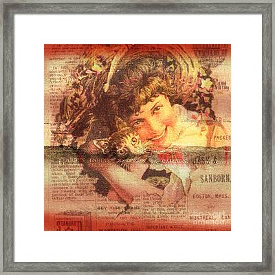 Bird With Cat On Vintage Background Framed Print