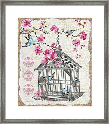 Birdcage With Cherry Blossoms-jp2611 Framed Print