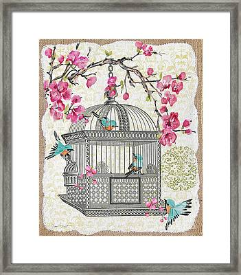 Birdcage With Cherry Blossoms-jp2612 Framed Print