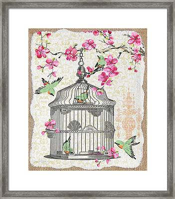 Birdcage With Cherry Blossoms-jp2613 Framed Print