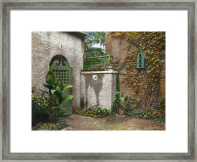 Birdhouse And Gate Framed Print