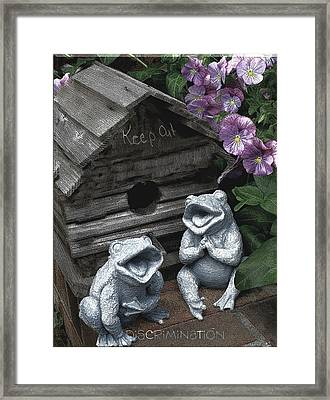 Birdhouse With Frogs Framed Print by Bonnie Willis