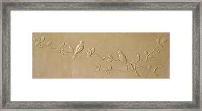 Birds And Cherries Framed Print by Deborah Dendler