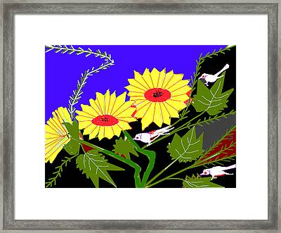 Birds And Leaves Framed Print by Anand Swaroop Manchiraju