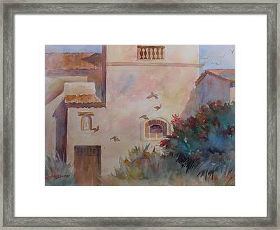 Birds At Carmel Mission Framed Print by John  Svenson