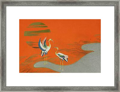 Birds At Sunset On The Lake Framed Print by Kamisaka Sekka