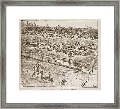 Birds-eye View Of Andersonville Prison Framed Print by American School