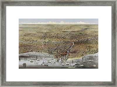 Birds Eye View Of Chicago, Illinois From Above Lake Framed Print by Litz Collection