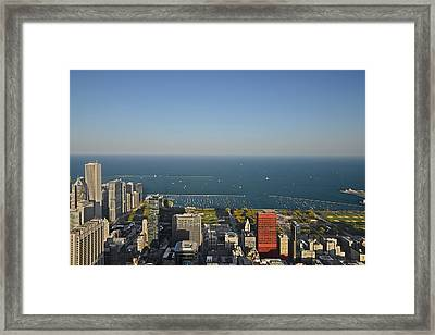 Bird's Eye View Of Chicago's Lakefront Framed Print by Christine Till