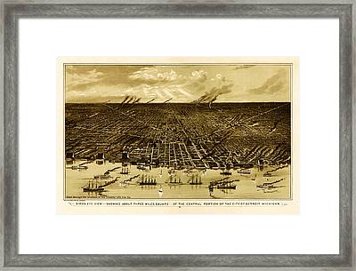 Bird's-eye View Of Detroit 1889 Framed Print by Mountain Dreams