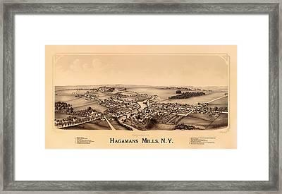 Bird's-eye View Of Hagamans Mills New York 1890 Framed Print