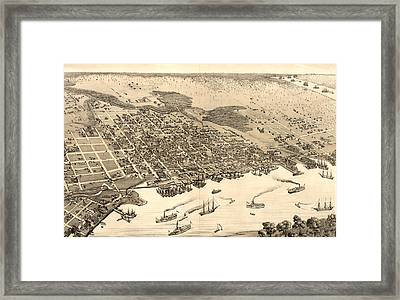 Birds Eye View Of Jacksonville Framed Print by Litz Collection
