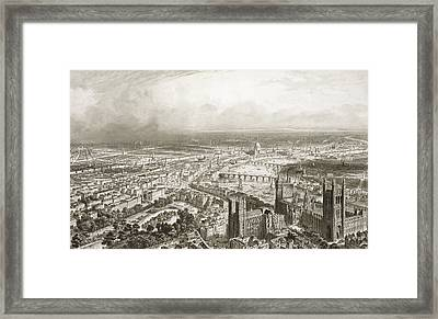 Birds Eye View Of London From Westminster Abbey Framed Print by Nicolas Marie Joseph Chapuy