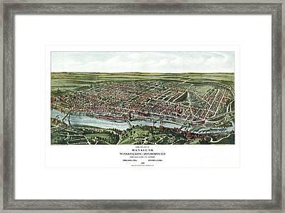 Birds Eye View Of Manayunk - Philadelphia - Pennsylvania - 1907 Framed Print by Pablo Romero