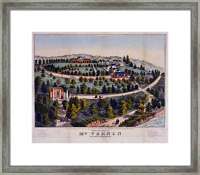 Birds Eye View Of Mt. Vernon The Home Of Washington G. & F Framed Print by Litz Collection
