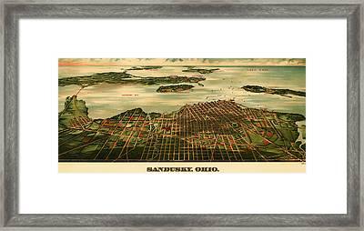 Bird's Eye View Of Sandusky Ohio 1898 Framed Print