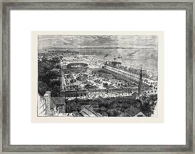 Birds Eye View Of The International Maritime Exhibition Framed Print by English School