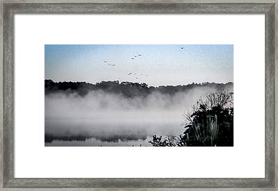 Birds Fly Above The Steamy Lake Framed Print