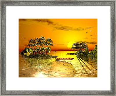 Birds In Flight Above A Golden Sunset Framed Print