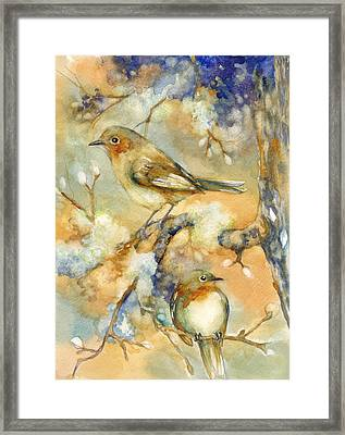 Birds In Mossy Branches Framed Print by Peggy Wilson