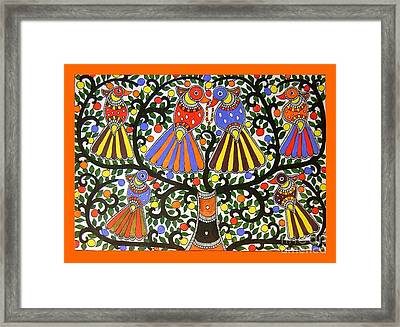 Birds-madhubani Painting Framed Print