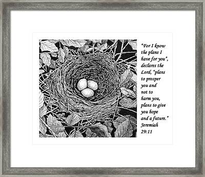Bird's Nest With Scripture Framed Print by Janet King
