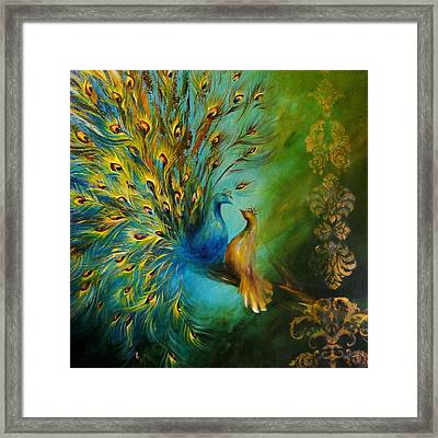 Birds Of A Feather Peacocks 3 Framed Print by Dina Dargo