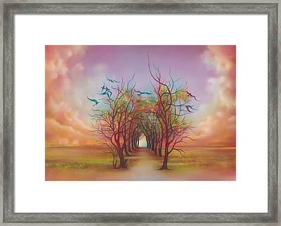 Framed Print featuring the painting Birds Of Rainbow Mist by Anna Ewa Miarczynska