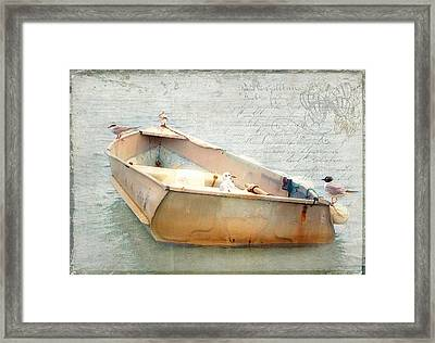 Birds On A Boat In The Basin Framed Print