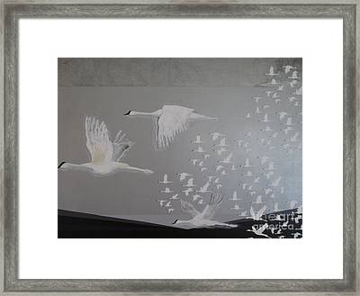Framed Print featuring the painting Birds On A Silver Sky by Nereida Rodriguez