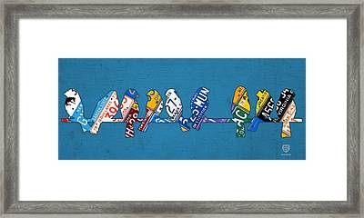 Birds On A Wire License Plate Art Framed Print by Design Turnpike