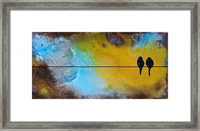 Birds On A Wire Lovebirds Framed Print
